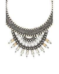 BCBGMAXAZRIA - Metallic Woven Chain Embellished Fan Statement Necklace - Lyst