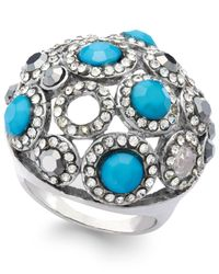 INC International Concepts - Blue Silver-tone Turquoise Bead And Crystal Dome Stretch Ring - Lyst
