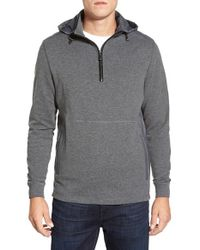 Bugatchi | Gray Hooded Quarter Zip Sweater for Men | Lyst
