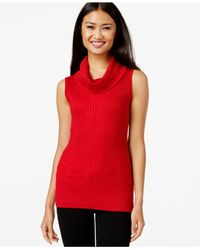Joseph A | Red Sleeveless Cowl-neck Metallic Sweater | Lyst