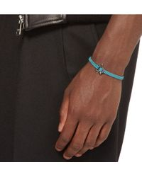 Yuvi Blue Sterling Silver and Woven Cord Bracelet for men