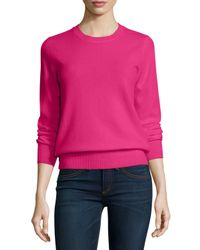 Neiman Marcus - Pink Long-sleeve Crewneck Cashmere Sweater - Lyst