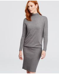 Ann Taylor | Gray Mock Neck Sweater Dress | Lyst