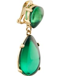 Kenneth Jay Lane - Green Gold-Plated Resin Earrings - Lyst
