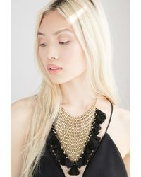 Forever 21 - Metallic Stacked Chain Tassel Statement Necklace - Lyst