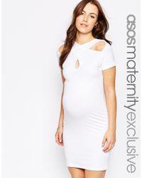 ASOS | White Mini Bodycon Dress With Cross Over Neck | Lyst