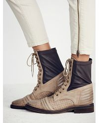 Free People | Brown Sounder Lace Up Boot | Lyst