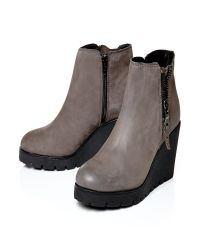 Moda In Pelle | Gray Barella High Casual Short Boots | Lyst