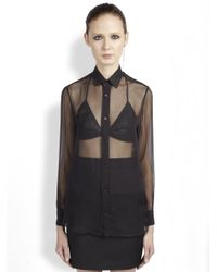 Saint Laurent | Black Collared Silk Chiffon Blouse | Lyst