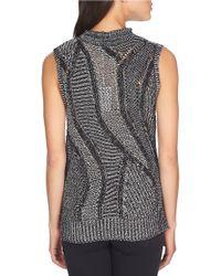 1.STATE | Black Mock Neck Marled Sleeveless Sweater | Lyst