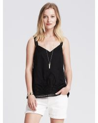 Banana Republic | Black Cutout Embroidered Cami | Lyst