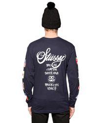 Stussy | Blue World Tour Cotton Long Sleeve T-shirt | Lyst
