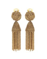 Oscar de la Renta | Metallic Tassel Clip-on Earrings | Lyst