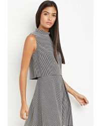 Forever 21 | Gray Contemporary Micro-grid Mock Neck Top | Lyst