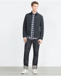 Zara | Blue Overshirt With Zip for Men | Lyst
