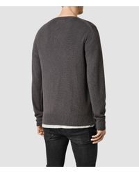 AllSaints | Gray Mont Cashmere Crew Jumper for Men | Lyst