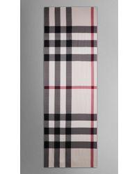 Burberry - Gray Check Silk Satin Scarf - Lyst