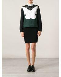 N°21 - Green Lace Paneled Sweatshirt - Lyst