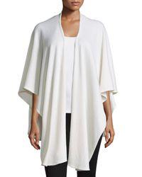 Neiman Marcus | White Drape-front Basic Cashmere Shawl | Lyst
