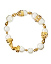 Jose & Maria Barrera - White 10 & 12mm Pearl Beaded Bracelet - Lyst