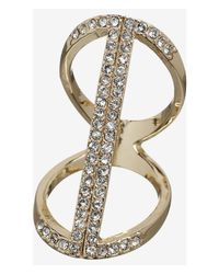 Express | Metallic Floating Pave Bar Ring | Lyst