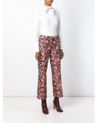 Giamba - Pink Floral Jacquard Trousers - Lyst
