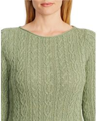 Lauren by Ralph Lauren | Green Plus Cabled Cotton Sweater | Lyst