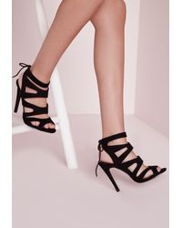 Missguided | Laser Cut Heeled Sandals Black | Lyst