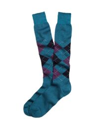 Brooks Brothers - Blue Argyle Over-the-calf Socks for Men - Lyst