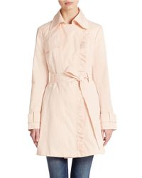 Jessica Simpson - Pink Belted Ruffle Coat - Lyst