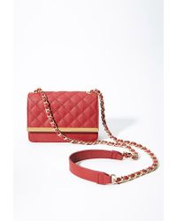Forever 21 - Red Quilted Faux Leather Crossbody - Lyst