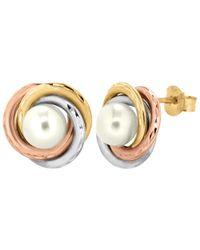 Ib&b | Metallic 9Ct Gold Triple Tone Pearl Swirl Stud Earrings | Lyst