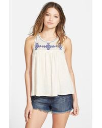 Volcom - White 'side Note' Embroidered Tank - Lyst