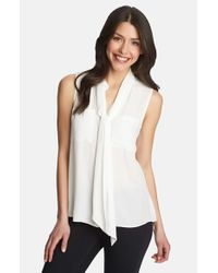 1.STATE | White Tie Neck Sleeveless Blouse | Lyst