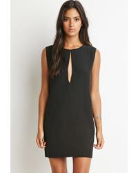 Forever 21 | Black Slit-neck Textured Dress | Lyst