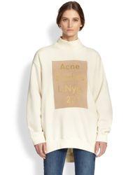 Acne Studios Natural Oversized Metallic Logo Sweatshirt