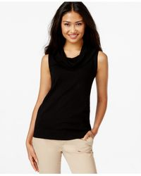 Joseph A | Black Sleeveless Cowl-neck Sweater | Lyst