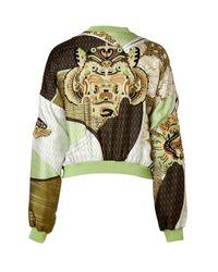 Emilio Pucci - Green Applegoldmulti Embroidered Silk Bomber Jacket - Lyst