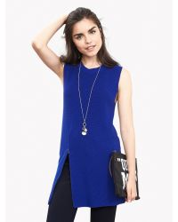 Banana Republic | Blue Zip Sleeveless Sweater Tunic | Lyst