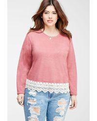 Forever 21 - Pink Plus Size Crochet-trimmed Slub Knit Top - Lyst