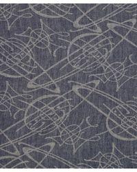 Vivienne Westwood - Blue Navy Graffiti Orb Mixedblend Scarf - Lyst