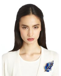 Oscar de la Renta - Blue Resin Leaf Brooch - Lyst