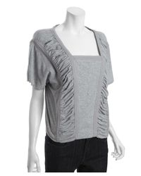 Marc By Marc Jacobs | Blue Heather Grey Cotton 'sparrow' Ruched Top | Lyst