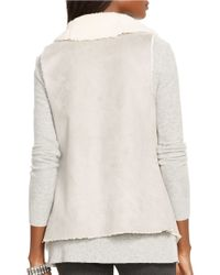 Lauren by Ralph Lauren | Gray Faux Fur And Faux Suede Vest | Lyst