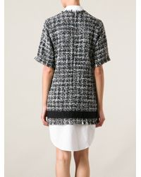 MSGM - Black Shirt Hem Boucle Knit Dress - Lyst