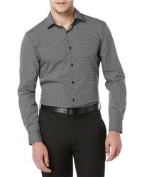 Perry Ellis | Black Slim Fit Diamond Sportshirt for Men | Lyst