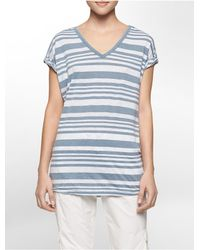 Calvin Klein | Blue White Label Performance Striped V-neck Short Sleeve Top | Lyst