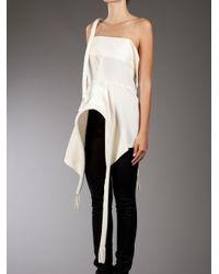 Yohji Yamamoto - White Structure Silk Top - Lyst