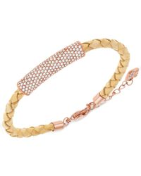 Swarovski | Metallic Leather Braid Crystal Pavé Bracelet | Lyst