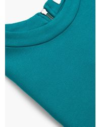 Mango - Green Side Slit T-shirt - Lyst